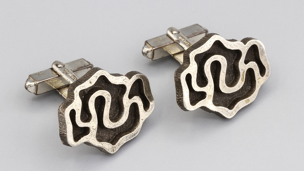 brutalist sterling cufflinks