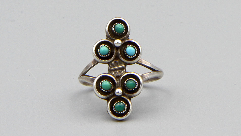 Zuni Petit Point Turquoise And Sterling Silver Ring Size 6 Vintage Jewelry