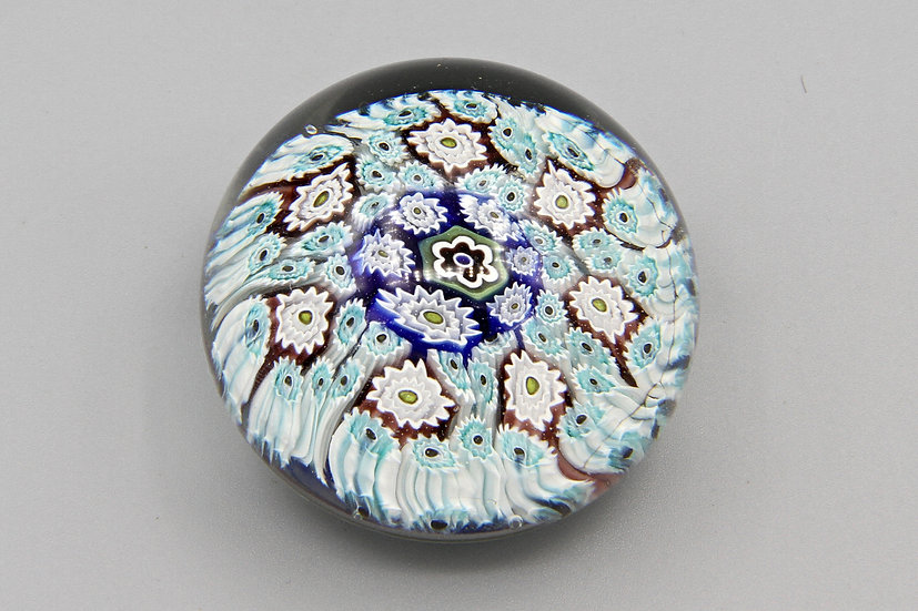 Baby Blue Millefiori Glass Art Paperweight ALT Murano Italy Vintage Piece