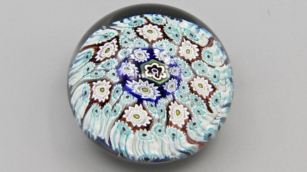 Baby Blue Millefiori Glass Art Paperweight ALT Murano Italy Vintage Piece