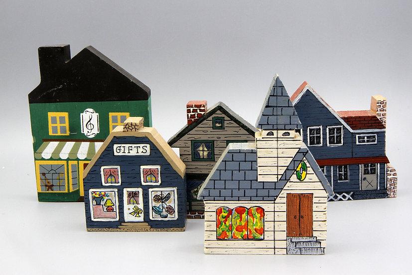 Vintage 1984 Cats Meow Village SET of 5 Small Architecture Models Faline Jones