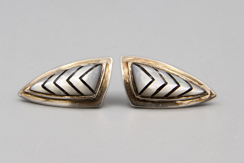 Long Triangle Earrings With Geometric Pattern