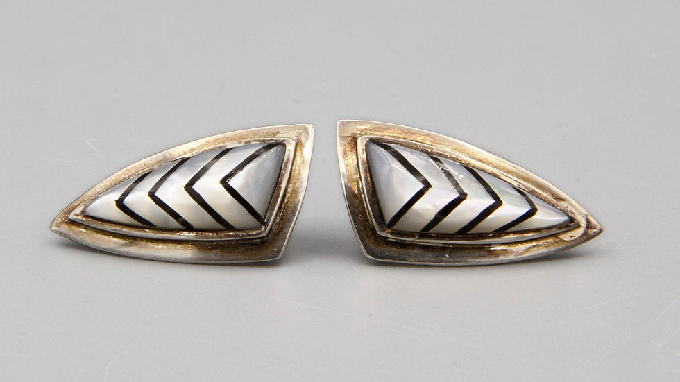 Long Triangle Earrings With Geometric Pattern
