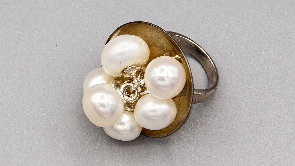 White Pearls Cha Cha Ring Size 5 Sterling Silver Statement Jewelry