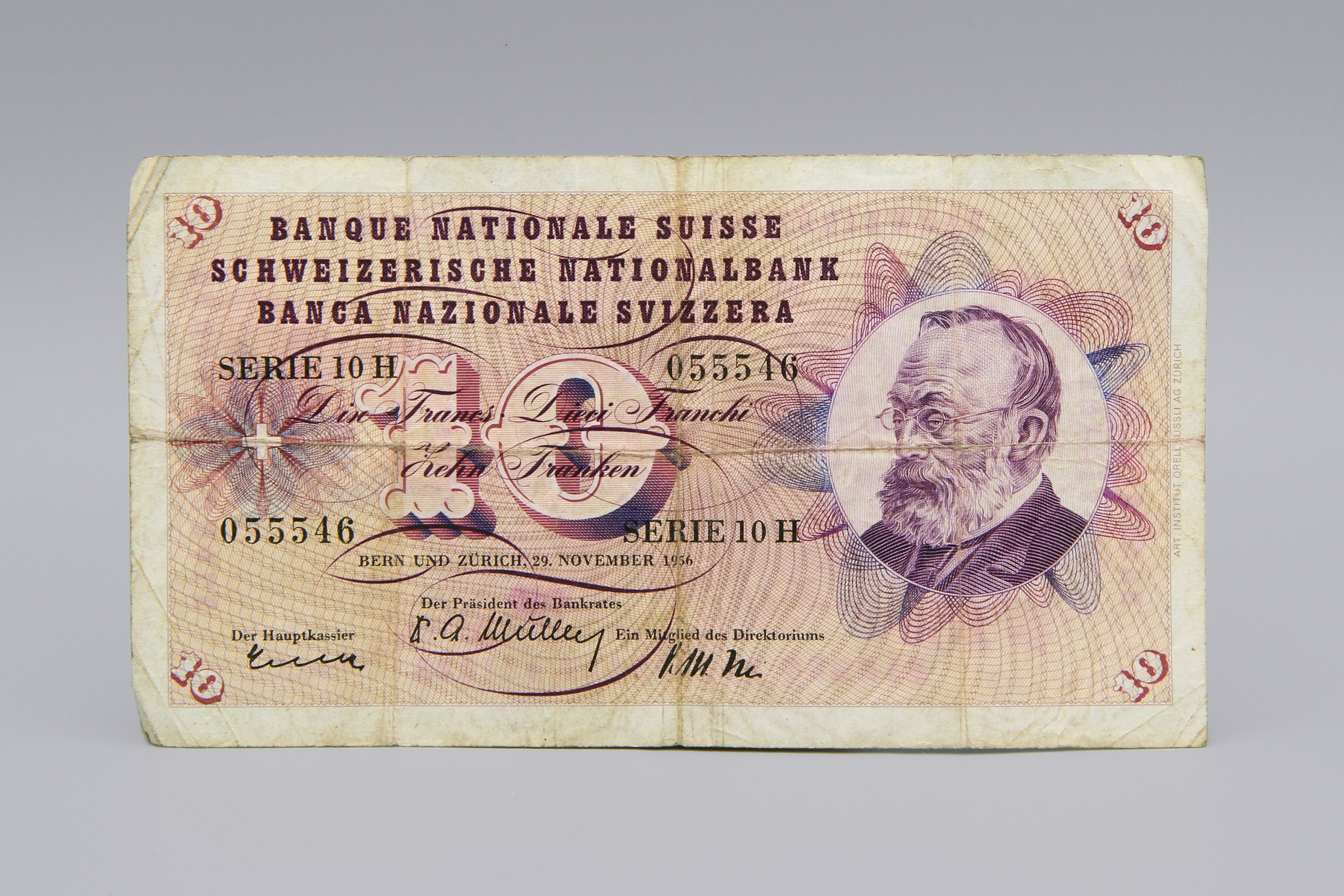 Switzerland 10 Franken Banknote Bill Swiss 1956 Paper Money
