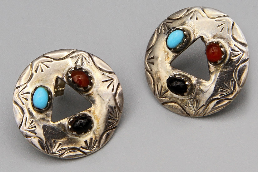 Southwestern Navajo Round Concho Earrings With Colorful Gemstones in Sterling