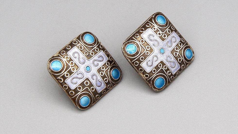 Byzantine Greek Cross Cloisonne Earrings