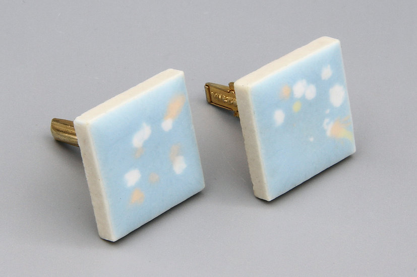 Baby Blue And White Speckles Enamel Mens Cufflinks