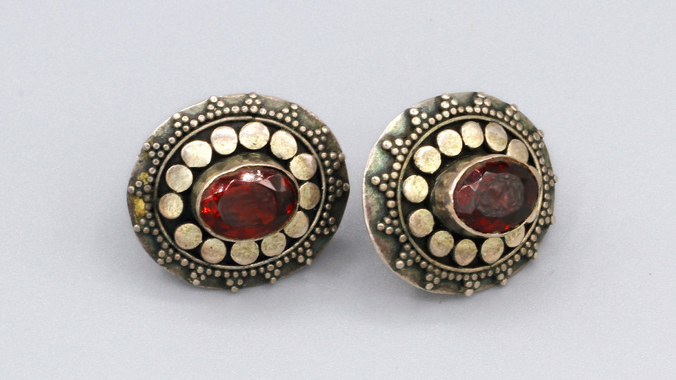Sterling Red Garnet Earrings