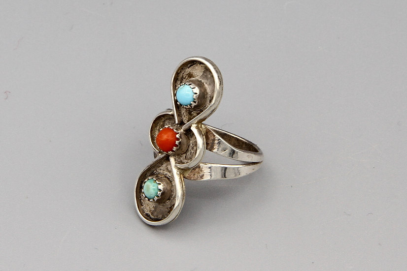 Vintage Southwestern Navajo Ring Size 8 Turquoise And Red Coral On Sterling