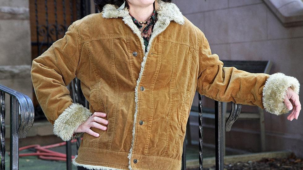 Mens Corduroy Winter Coat Size S By Castro Men Israel Faux Fur Lining
