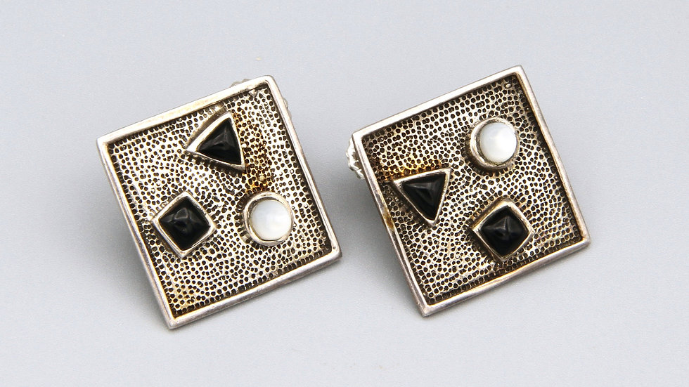 multi stone geometric earrings