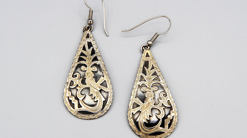 Large Drop Dangle Earrings Etched Silver And Enamel From Guatemala