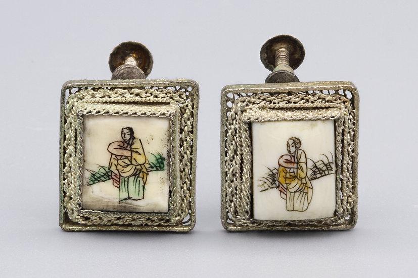 antique 1900s oriental earrings