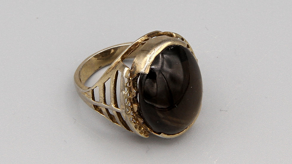 Vintage Art Deco Ring Size 6 Gold Wash Over Sterling And Brown Smoky Quartz