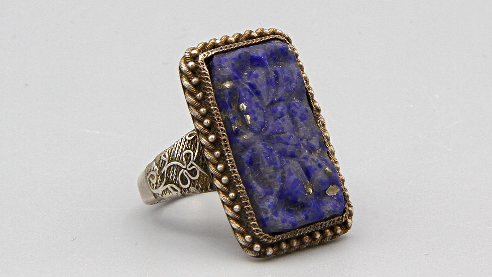Vintage 1920s Chinese Export Silver And Blue Lapis Lazuli Stone Ring Size 8