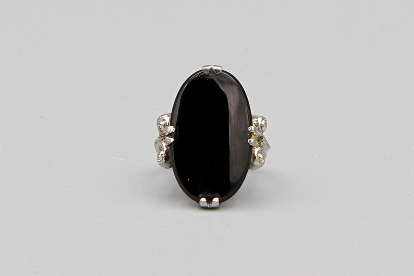 Clark And Coombs Art Deco Style Womens Ring Size 4 Sterling And Black Onyx