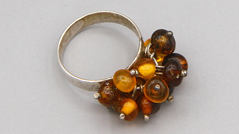 Vintage Baltic Amber Beads Cha Cha Ring Size 7 Fine Sterling Silver
