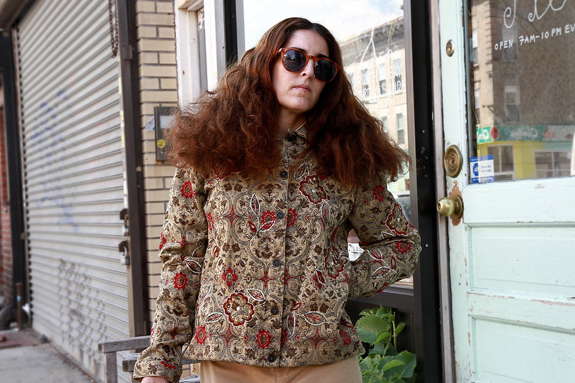 Laura Ashley Embroidered Indian Jacket Size L with Floral Embroidery