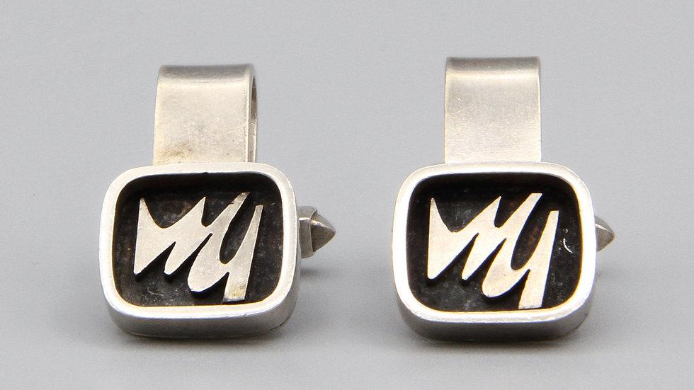 brutalist silver cufflinks