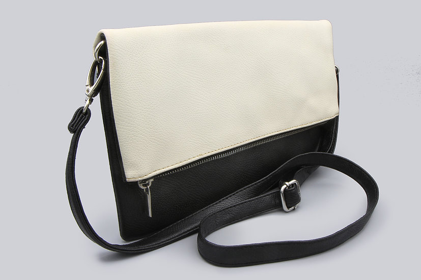Minimalist Black And White Pebbled Leather Crossbody Bag With Strap