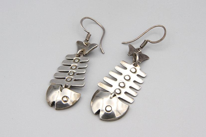 fish skeleton dangle earrings