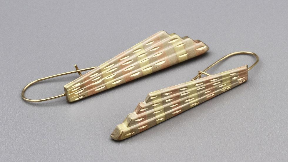 14Kt Gold Fan Shape Dangle Earrings