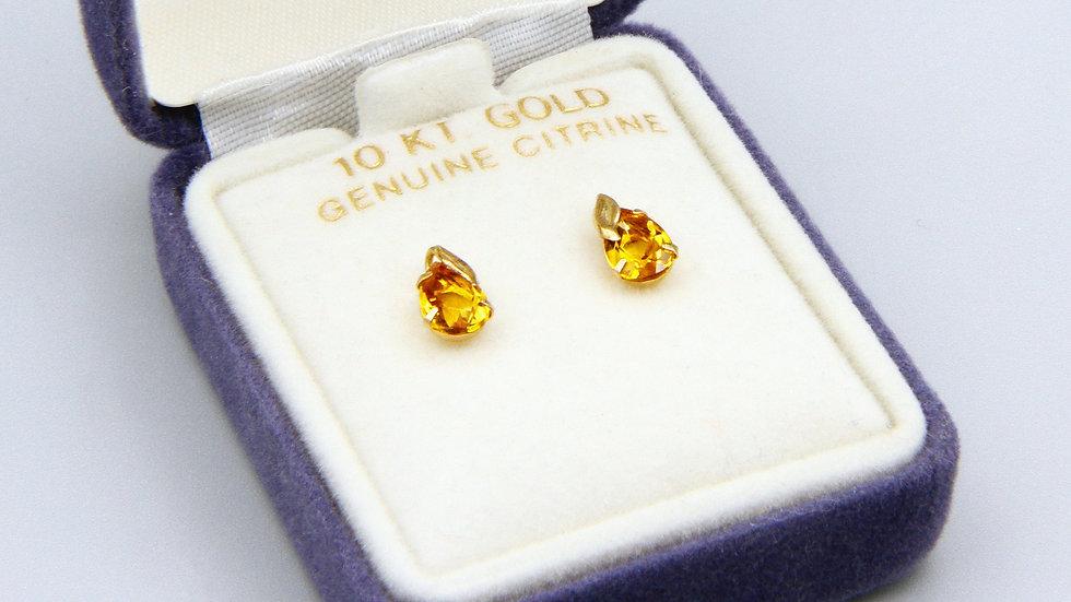 Orange Citrine Stud Earrings