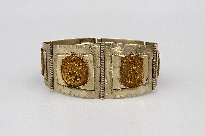 Vintage 1940s Art Deco Aztec Mayan Revival Panel Bracelet Taxco Mexico