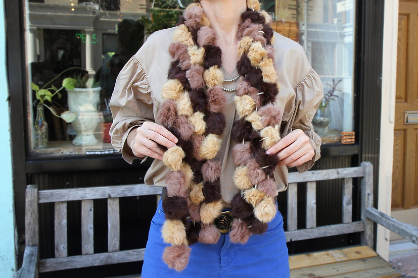 Long Handmade Rabbit Fur Pom Poms Scarf Or Stole With Multi Color Beige Balls