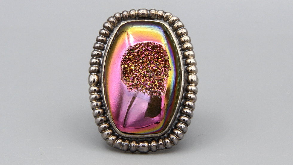 Amy Kahn Russell Pink Purple Druzy And Sterling Ring Size 8