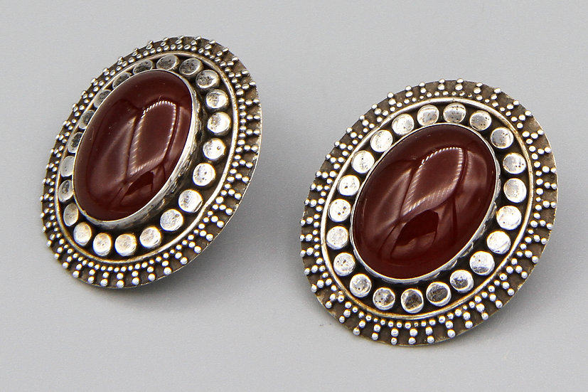 Large Earrings Sterling And Carnelian Ethnic Bali Jewelry