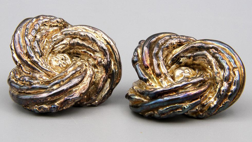 Genuine Vintage 1980s Electroform Sterling Earrings Brutalist Israel Jewelry