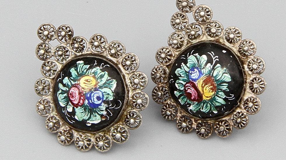 Persian Qajar Filigree Earrings 800 Silver And Hand Painted Roses Flowers