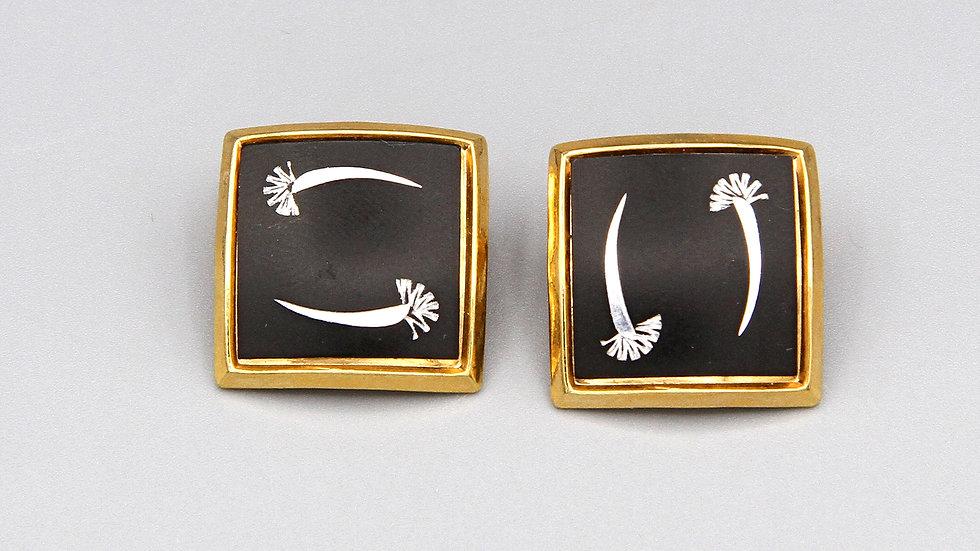 Retro Art Deco Earrings Japanese Amita Damascene Gold Clip Ons