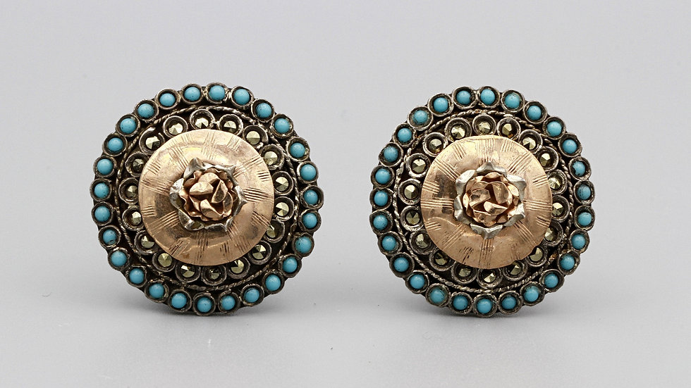 Large 800 silver and Rose Gold Earrings