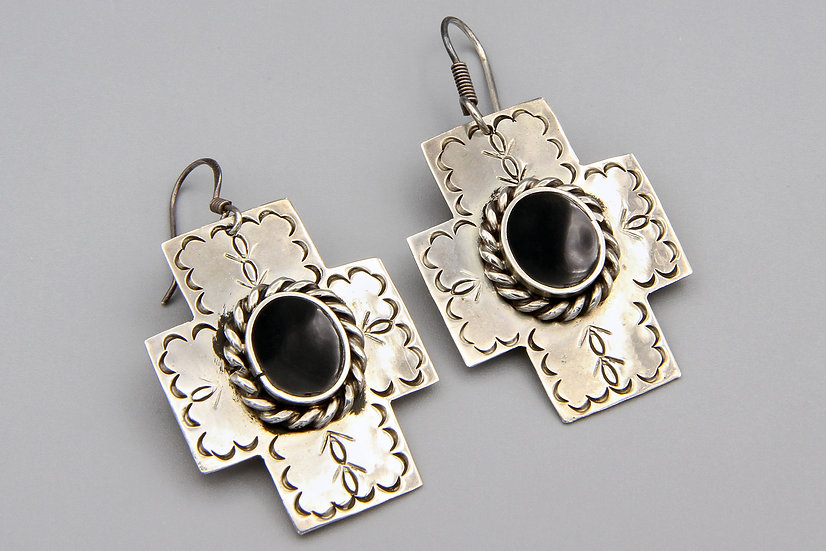 Southwestern Cross Dangle Earrings With Stamped Navajo Sterling And Onyx Accents
