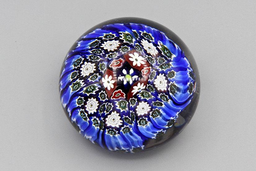 Ultramarine Blue Millefiori Glass Art Paperweight ALT Murano Italy Vintage Piece