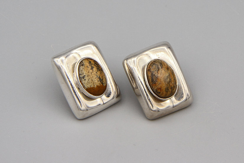 jasper and sterling stud earrings