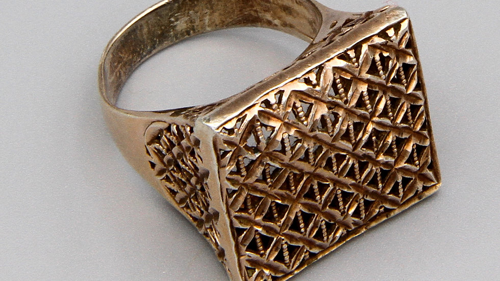 Vermeil Faceted Filigree Diamond Cut Ring Size 10 Made In Italy