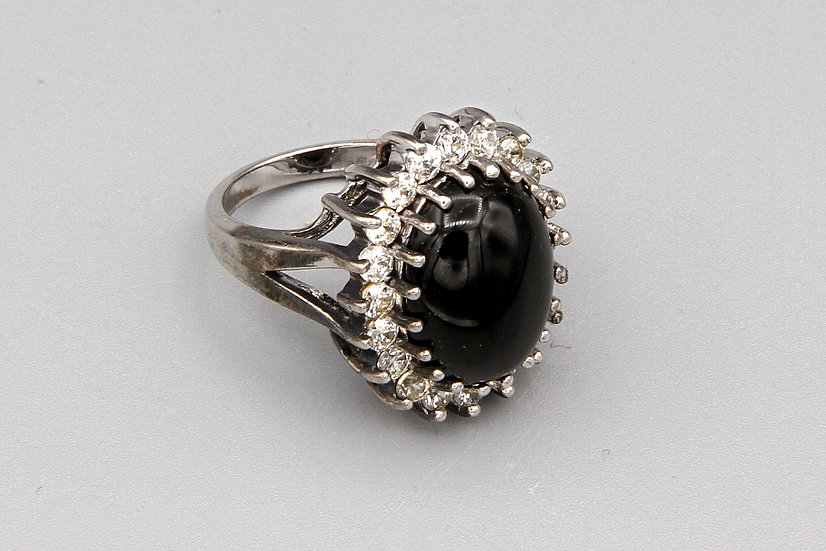 Large Engagement Ring Black Stone And Sparkling Zirconia Signed Joseph Esposito