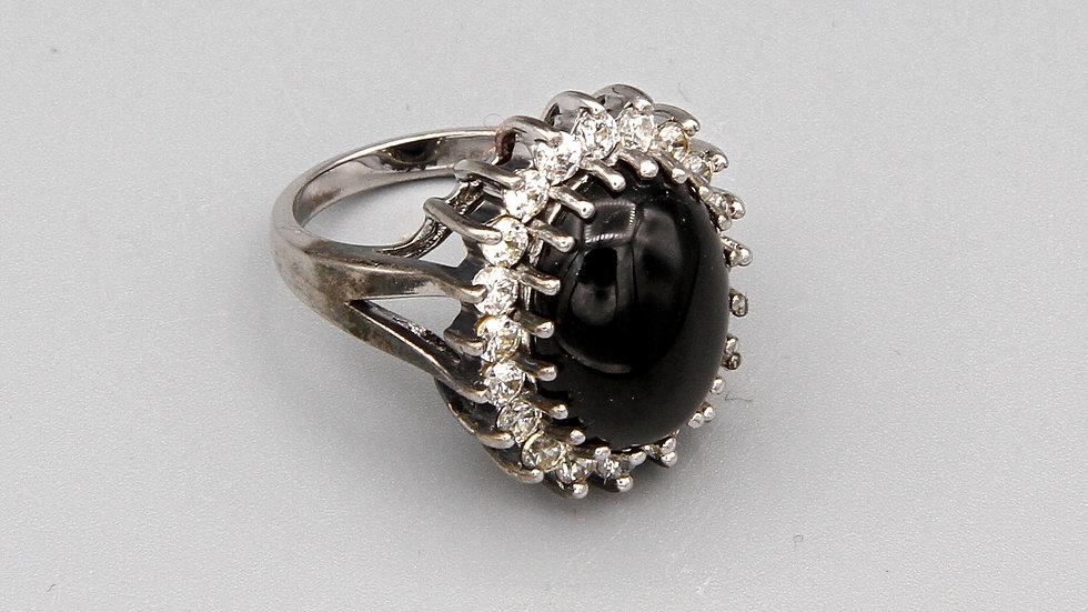 Large Engagement Ring Black Stone And Sparkling Zirconia Signed Joseph Esposito