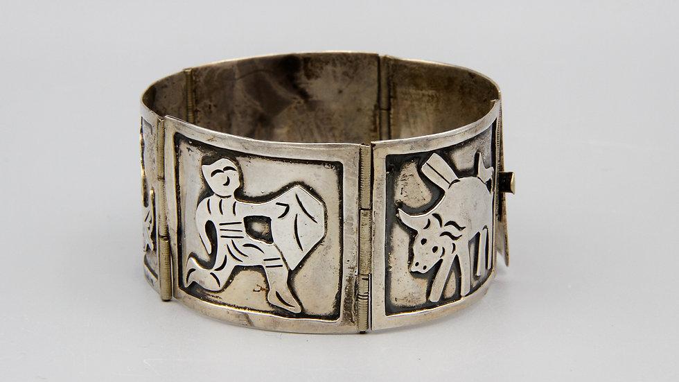 Folk Latin American Jewelry Matador Bullfighter Wide Panel Bracelet Sterling