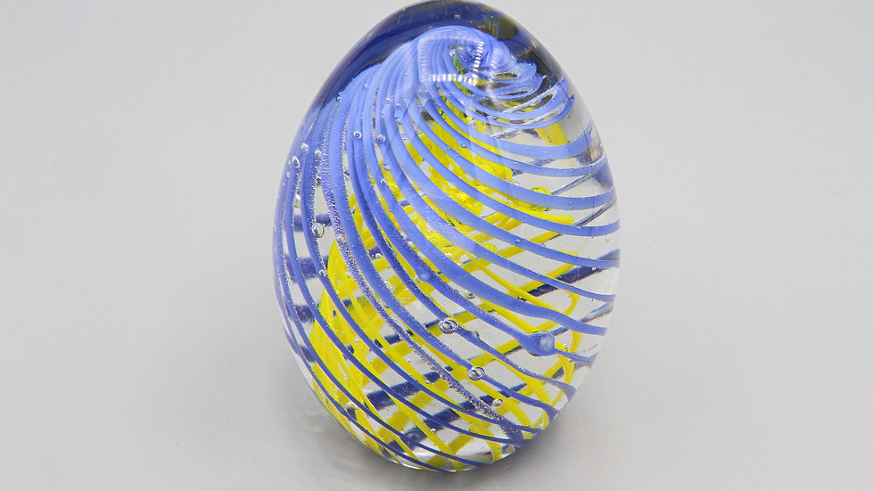 Colorful Egg Shaped Glass Art Paperweight With Blue Yellow Lattice Swirl Accent