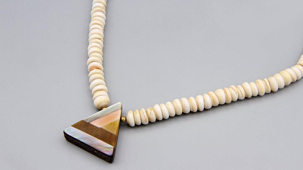 Nautical Shells Beaded necklace With Mosaic Pendant Santo Domingo Pueblo Style