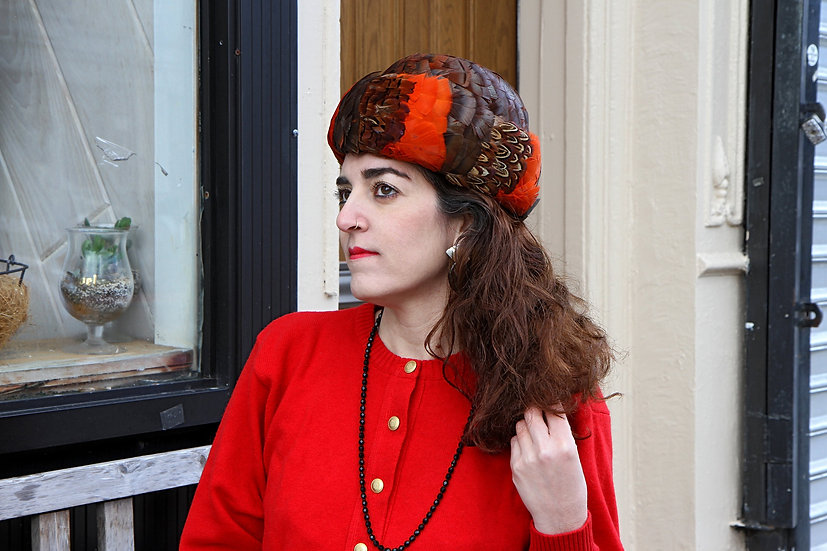 Orange Red and Black Bowler Hat