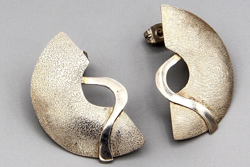 Modernist Swirl Ribbon Pierced Earrings Brushed Matte Sterling Silver