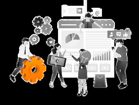 imagem ilustrativa da agência de publicidade e propaganda, comunicaçã e marketing digital - ilustração funcionários estratégias de presença online e offline