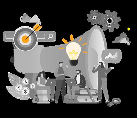 imagem ilustrativa da agência de publicidade e propaganda, comunicaçã e marketing digital - ilustração de funcionários