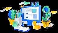 desenho feito para representar a criação de websites - lojas virtuais - e-commerce - site institucional